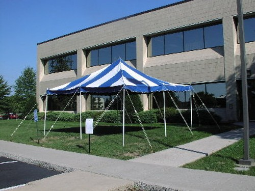 Details 16x16 Blue And White Rope Pole Stake Down Style Canopy Must Be Set Up In Grass Or Gravel On All 4 Sides